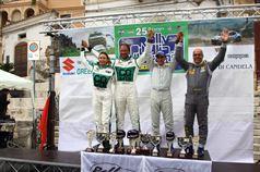 Podium: Nicolò Marchioro, Marco Marchetti (Renault Clio R3 R R3C #4), race winner, Luigi Ricci, Christine Pfister (Subaru Impreza N N4 #1, Movisport Srl), 2nd position, TROFEO RALLY TERRA