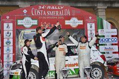 Podio: Giuseppe Dettori, Carlo Pisano (Skoda Fabia S2000 #6, Porto Cervo Racing), Luigi Ricci, Cristine Pfister (Ford Fiesta R5 #2, Movisport S.R.L), TROFEO RALLY TERRA